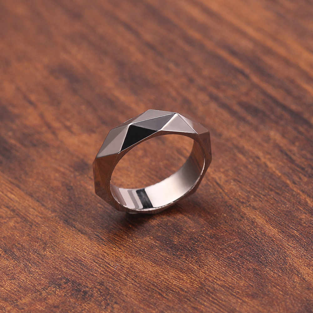 Special Silver Color Rhombus Cut Men's Ring Wedding Bands Multi-faceted Dome Women Ring Men Jewelry Accessories for lover