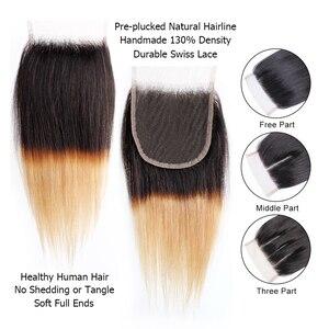 Image 4 - Bobbi Collection 4/6 Bundle avec fermeture 50g / pc Cheveux blonds châtains brésiliens avec fermoir en dentelle Cheveux humains droits et remy