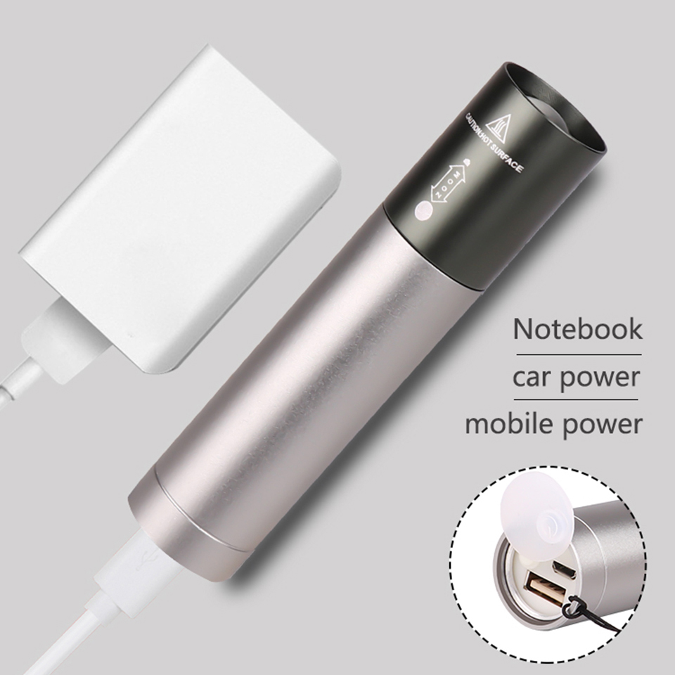 8000 Lumens Z94 XM-L T6 Power Bank LED Flashlight Torch 3 Modes Switch  Zoom Lens Built In Rechargeable Battery For Camping