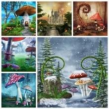 Laeacco Wonderland fondos de fotografía de seta de bosque, cuento de hadas, Fondo de cumpleaños para bebé, estudio fotográfico de fotollamada
