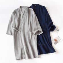 Bawełna japońskie Kimono sukienka mężczyźni tradycyjne piżamy Haori Unisex Jinbei kobieta Yukata koszula nocna japonia ubrania luźny kardigan tanie tanio WOMEN COTTON Linen Trzy czwarte Kimono Dress Robe