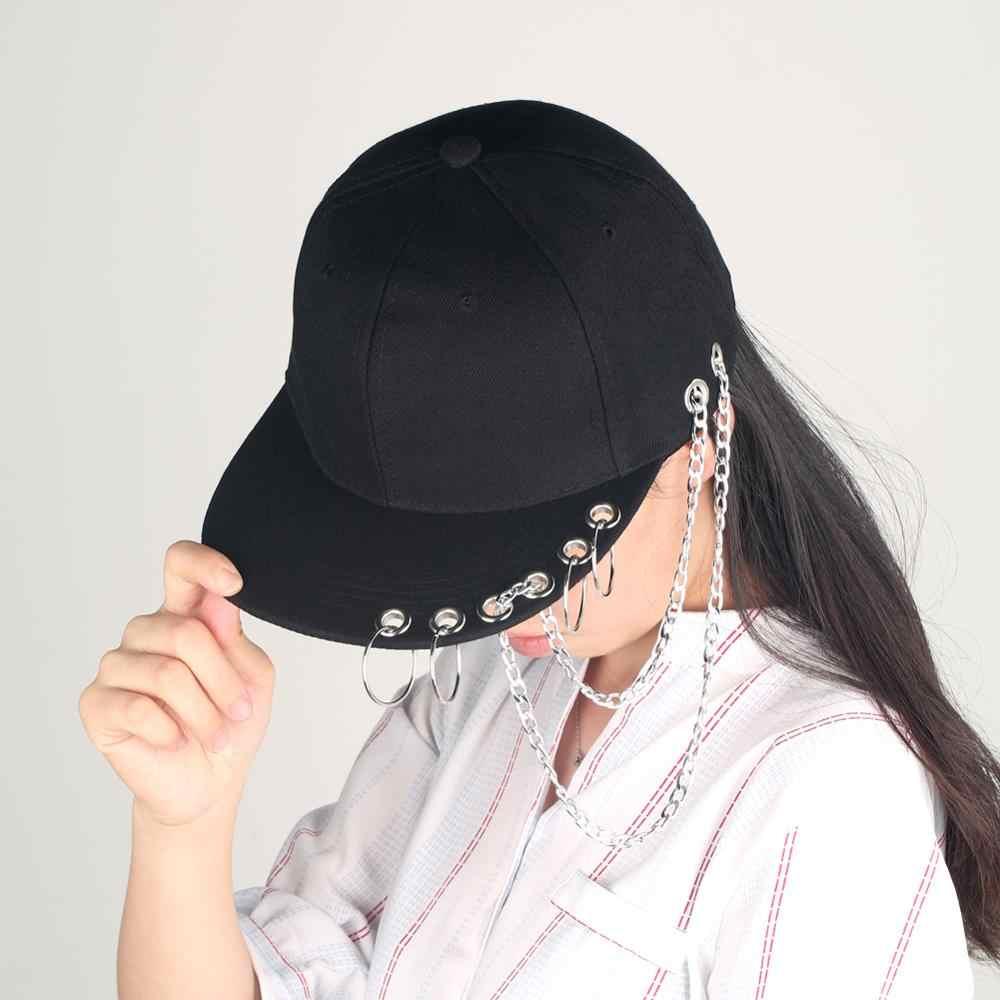 Czarny Punk czapka z pierścieniem Hip Hop żelazny łańcuch czapka nit płaski czapka z daszkiem Sport oddychający tata czapki baseballowe kości Snapback Boy