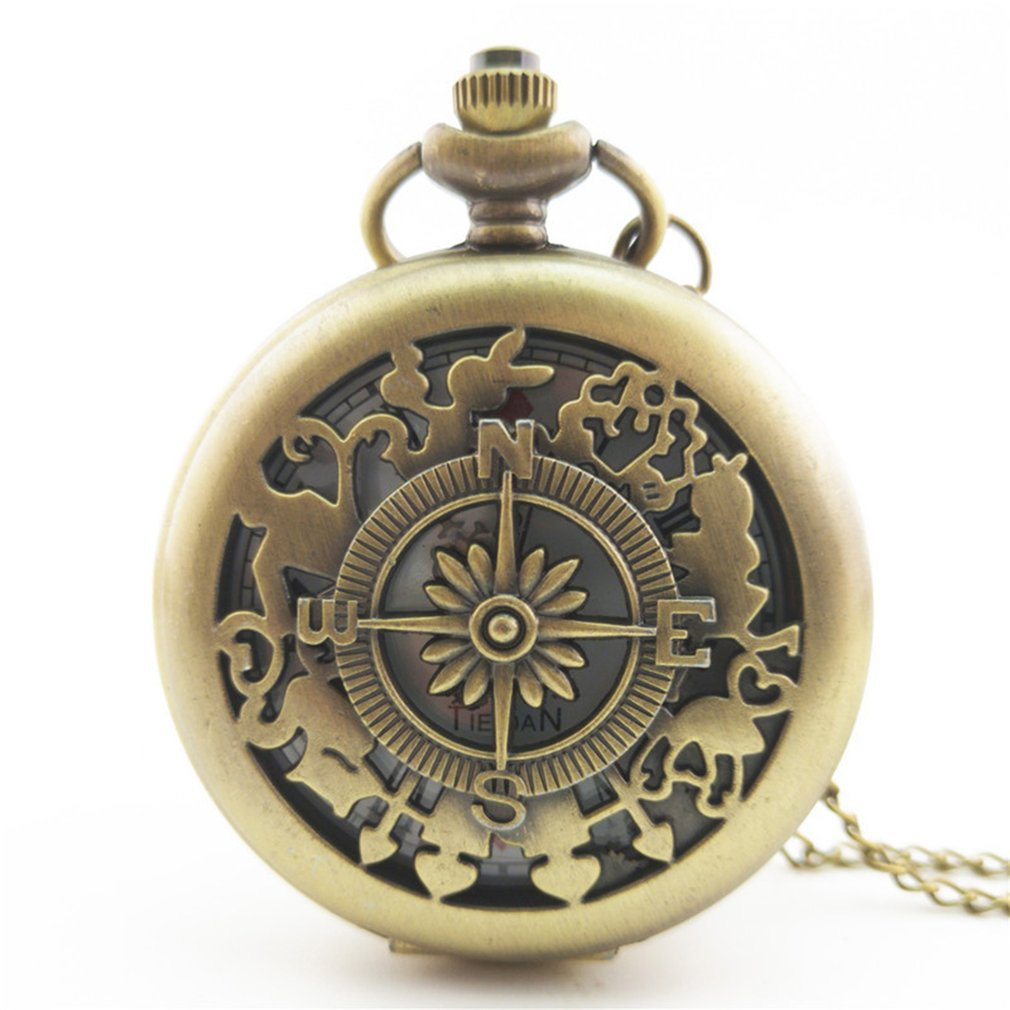 Antique Copper Steampunk Quartz Pocket Watch Vintage Bronze Gear Hollow Necklace Pendant Clock With Chain Men's Women Gifts