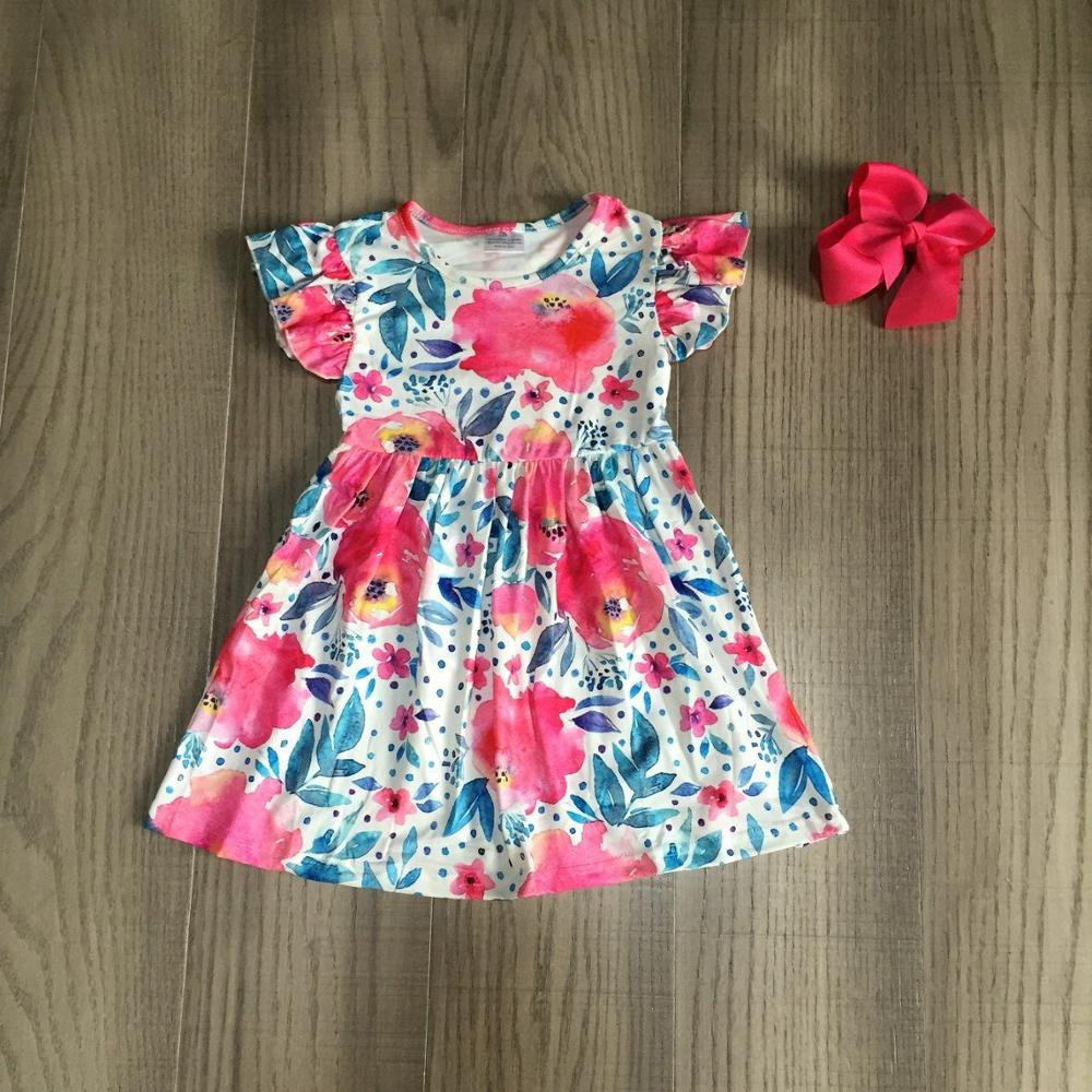 Baby Girls Summer Rose Red Dress Girls Floral Dress With Bow