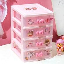 Pink Storage Box Cute Shelf Desk Drawer  Desk Small Box Cosmetics Stationery Set Sundries Desktop Organizer Office Supplies