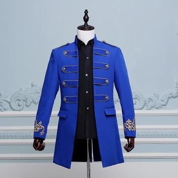 Male groom prom clothes new fashion men costume long jacket blazer singer dancer star performance nightclub bar wedding party