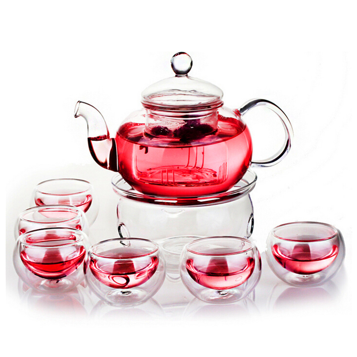 600ml Teapot Set Heat-resistant Glass Teapot With Round Candle Holder Teacup Flower Tea Kung Fu Tea Pot Teaware Gift