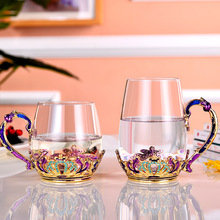 Enamel crystal glass water cup heat resistant flower tea cup with cover and handle office men's and women's crown tea cup