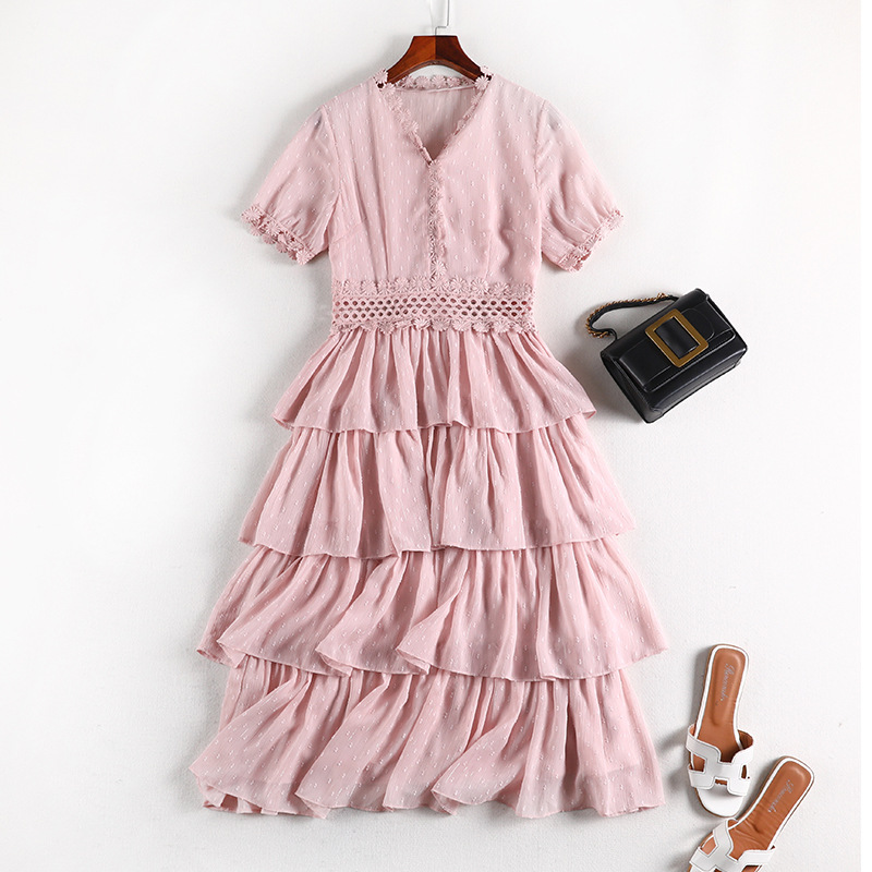Lan Mu Square Fat Mm Belly Covering By Age Dress Summer Wear Extra Large WOMEN'S Dress Large GIRL'S Cake Dress Chiffon 10457