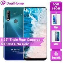 "Oukitel C17 משולש אחורי מצלמות 6.35 ""Smartphone MT6763 אוקטה Core אנדרואיד 9.0 3GB 16GB 3900mAh טביעות אצבע פנים מזהה נייד טלפון"