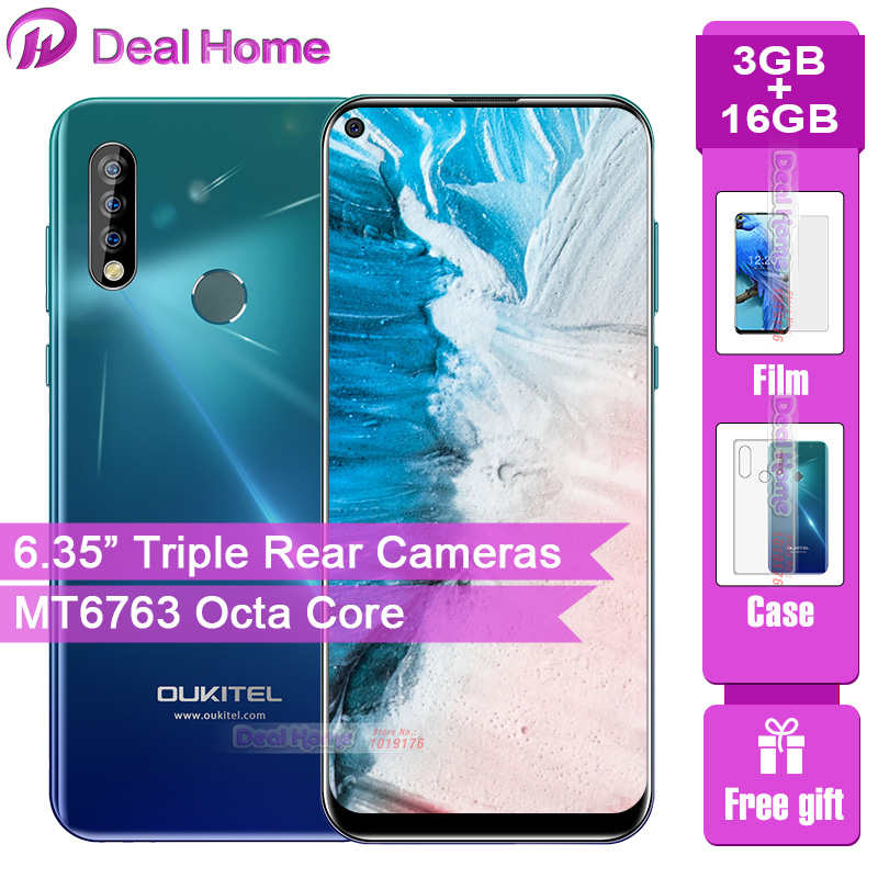 "Oukitel C17 Triple Rear Cameras 6.35"" Smartphone MT6763 Octa Core Android 9.0 3GB 16GB 3900mAh Fingerprint Face ID Mobile Phone"