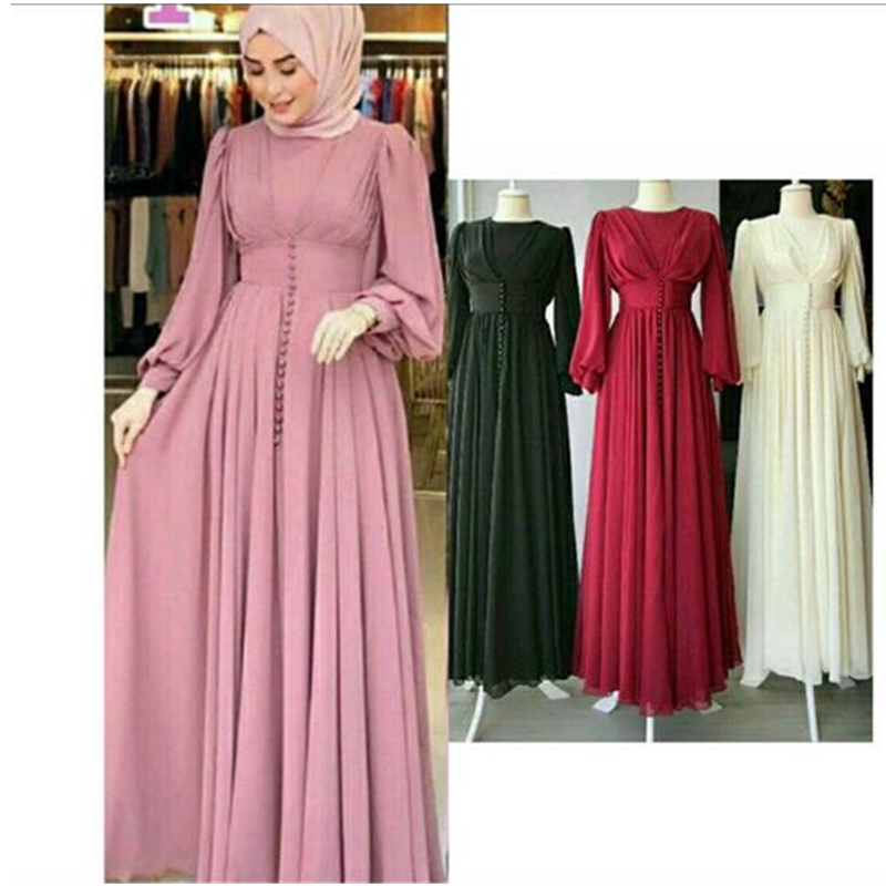 Women's Solid Buttons Long-Hijabs