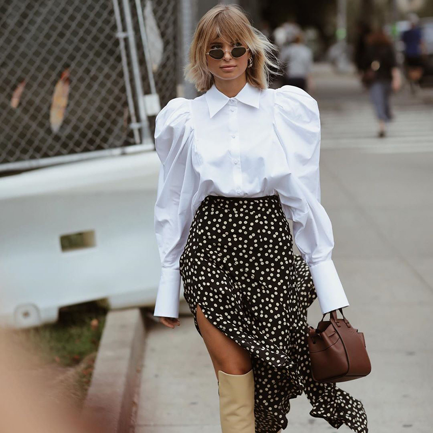 Женская офисная блузка с отложным воротником, белая блузка с длинными рукавами фонариками, туника на пуговицах, одежда для работы, весна лето 2020|Блузки и рубашки|   | АлиЭкспресс