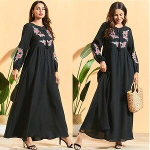 Fashion Abaya Women Long Sleeve Dress Kaftan Muslim Vintage Ethnic Maxi Robe Dubai Loose Arab Jilbab Caftan Party Gown Clothing