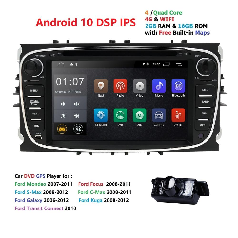 4G WIFI DVR DAB 2din Android 10 Quad Core Car DVD Player <font><b>GPS</b></font> Navi for <font><b>Ford</b></font> <font><b>Focus</b></font> Mondeo Galaxy with Audio Radio Stereo Head Unit image