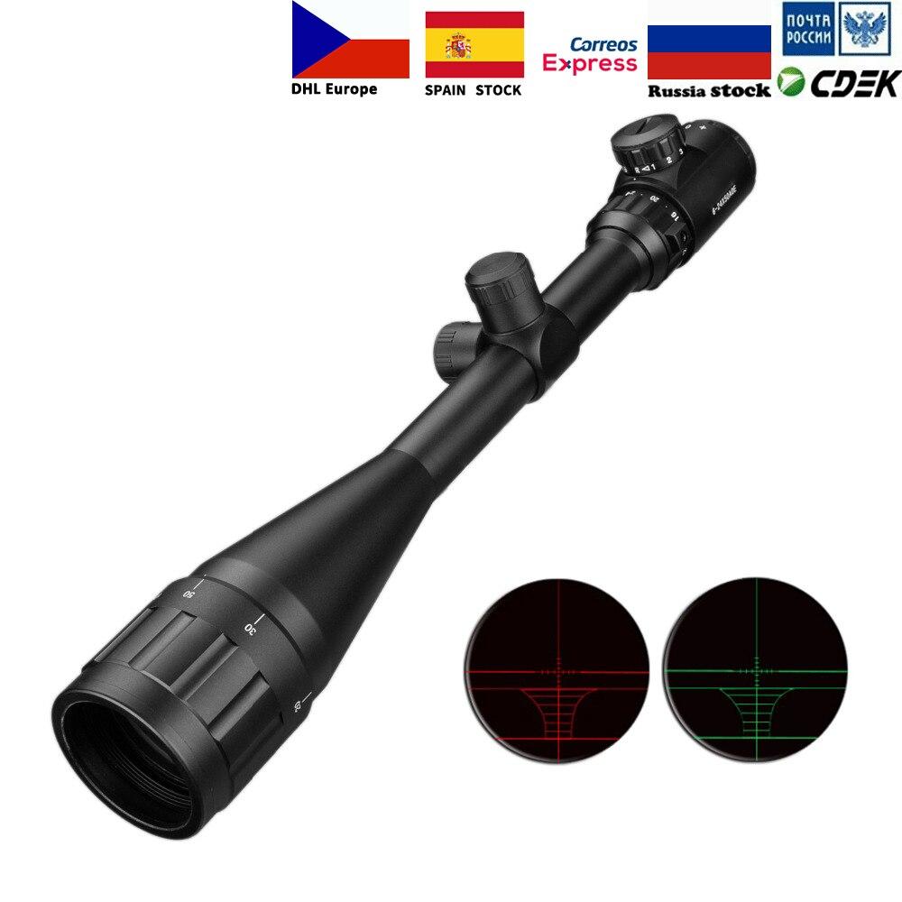 6-24x50 Aoe Riflescope Ajustável Ponto Vermelho Verde Luz Caça Tático Âmbito Retículo Rifle Scope Optical