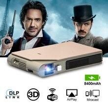 CAIWEI S7 + מיני נייד DLP מקרן 3D קולנוע קולנוע ביתי חיצוני וידאו סרט עבור Smartphone נתונים להראות מקרן גדול battry