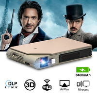 CAIWEI S7+ Mini Portable DLP Projector 3D Cinema Home Theater Outdoor Video Movie for Smartphone Data Show Beamer Large Battry