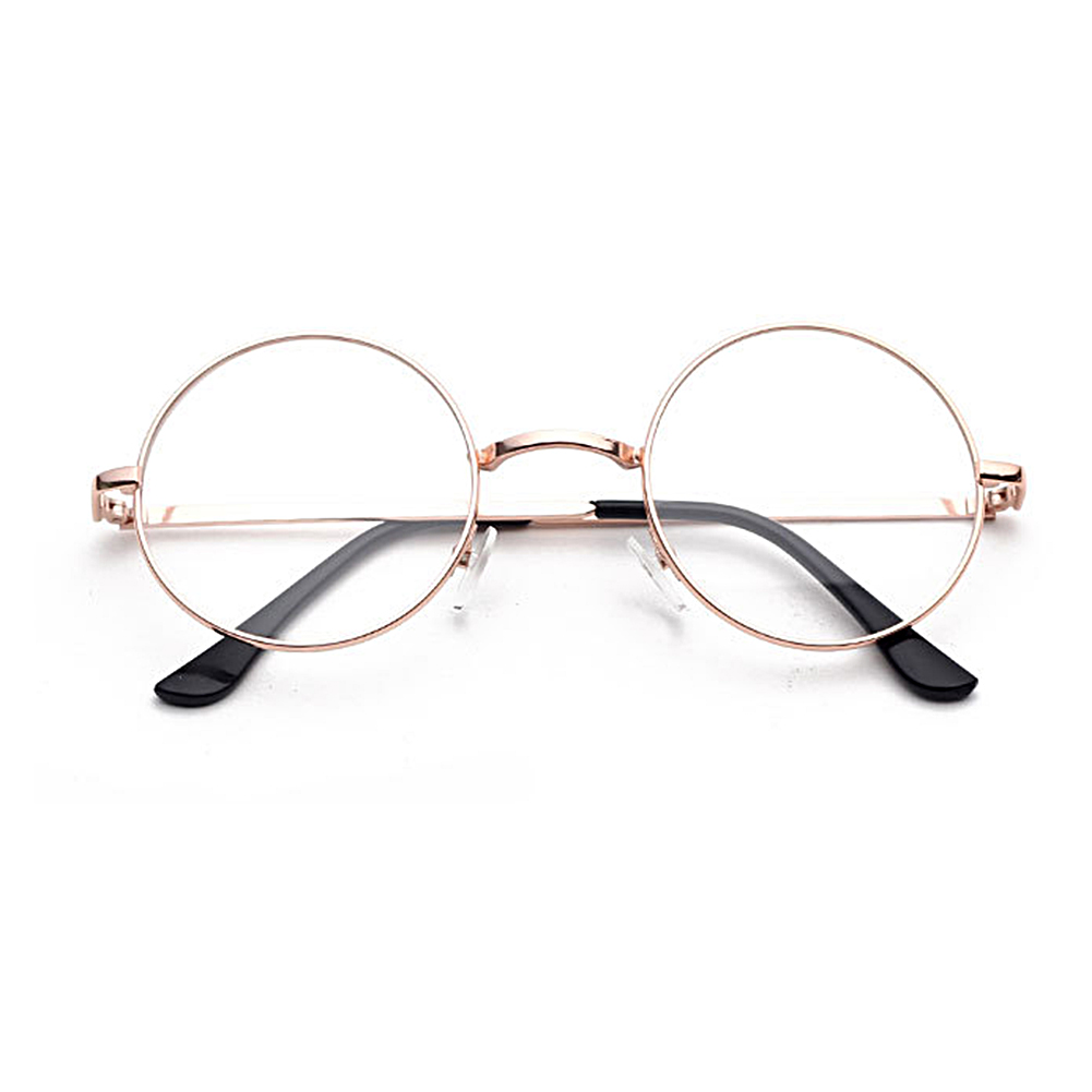 2019 Vintage Round Glasses Frame Female UV400 Plain Glasses Eyeglasses Eyewear Optical Glasses Metal Decorative