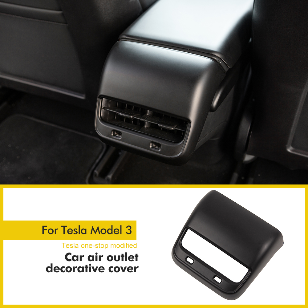 Model3 Car Carbon Fiber ABS Back Rear Air Vents Outlet Cover Trim For Tesla Model 3 Accessories Parts Car Interior Accessories