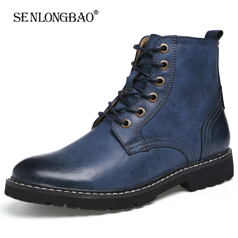 New Autumn Winter Men Casual Leather Shoes Fashion Warm Men Boots Non-slip Lace-up Ankle Boots Comfortable Plush Snow Boots
