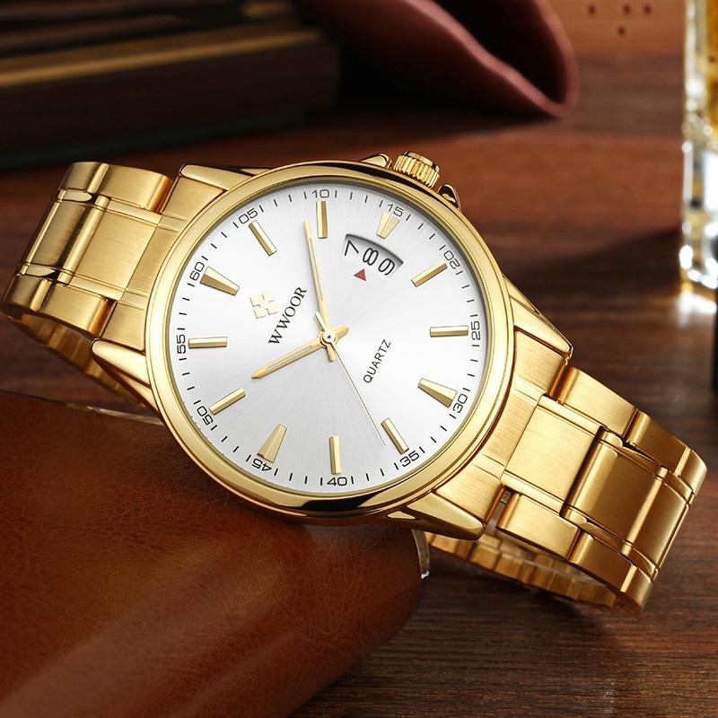 WWOOR 2021 Fashion Mens Watches Top Brand Luxury Gold Stainless Steel Quartz Watch Men Waterproof Wrist Watch Relogios Masculino