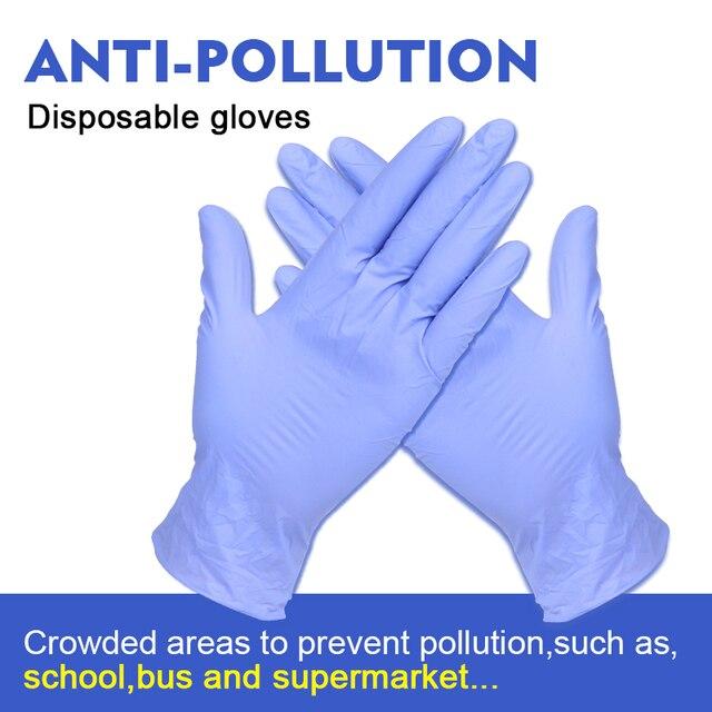 Luvas descartáveis do nitrilo do látex de 100 pces isolam para evitar o contato com o trabalho da cozinha para a mão esquerda e direita