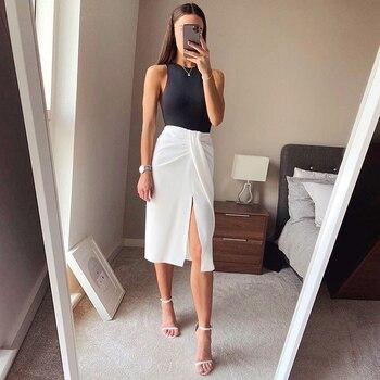 цена на Fashion woman temperament white skirt 2020 summer new pleated slit irregular high waist fashion chiffon MIDI skirt