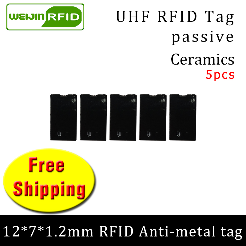 UHF RFID Metal Tag 915mhz 868mhz Alien Higgs3 EPC 5pcs Free Shipping 12*7*1.2mm Thin Rectangle Ceramics Smart Passive RFID Tags