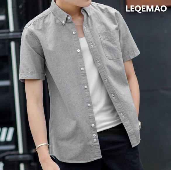 2019 New Summer Solid Color Shirt Men's  Sleeve White Shirt Em8 Autumn Clothes Summer Thin Cotton  KJJ-01-03