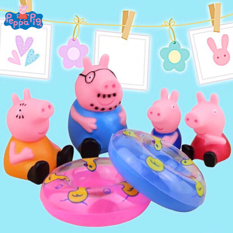 Peppa Pig Baby Bath Toy Squeeze-sounding Dabbling Toy Pig Family with Swimming Ring Action Figure Toy For Children