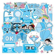 37PCS Blue Ocean Marine Life Dolphin Sticker Graffiti Stickers For DIY Sticker On Travel Case Laptop Skateboard Guitar Fridge(China)