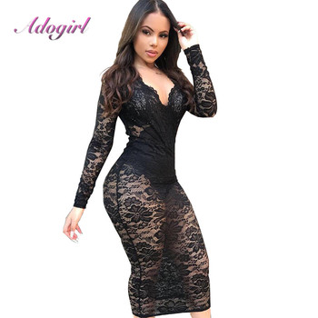 Sexy Lace Patchwork See Through Evening Party Club BodyconMidi Dress Eleagnt Long Sleeve V Neck Autumn Dresses Casual Vestidos