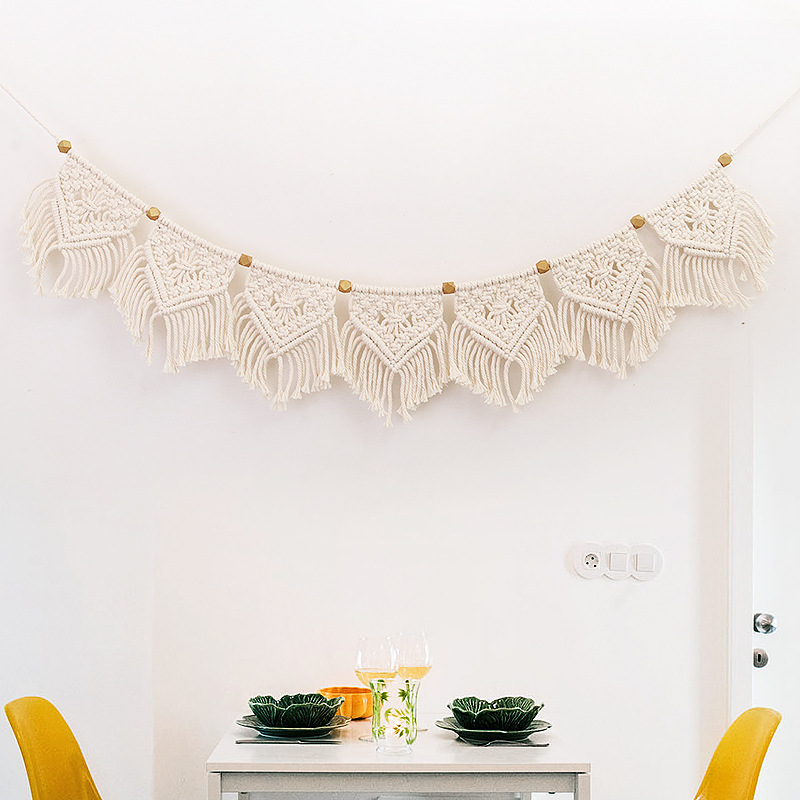 Macrame Fringed Woven Tapestry Wall Hanging Home Wall Decoration Boho Decor Living Room Bedroom Headboard Wall Hanging