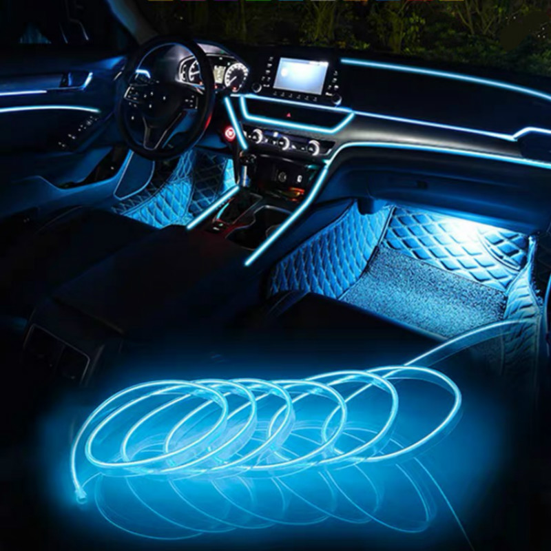 JURUS 3Meters Car Interior Lighting Auto Led Neon Light Wire Glow Rope Line 12V Inverter Car Decoration Lamp Flexible Tube