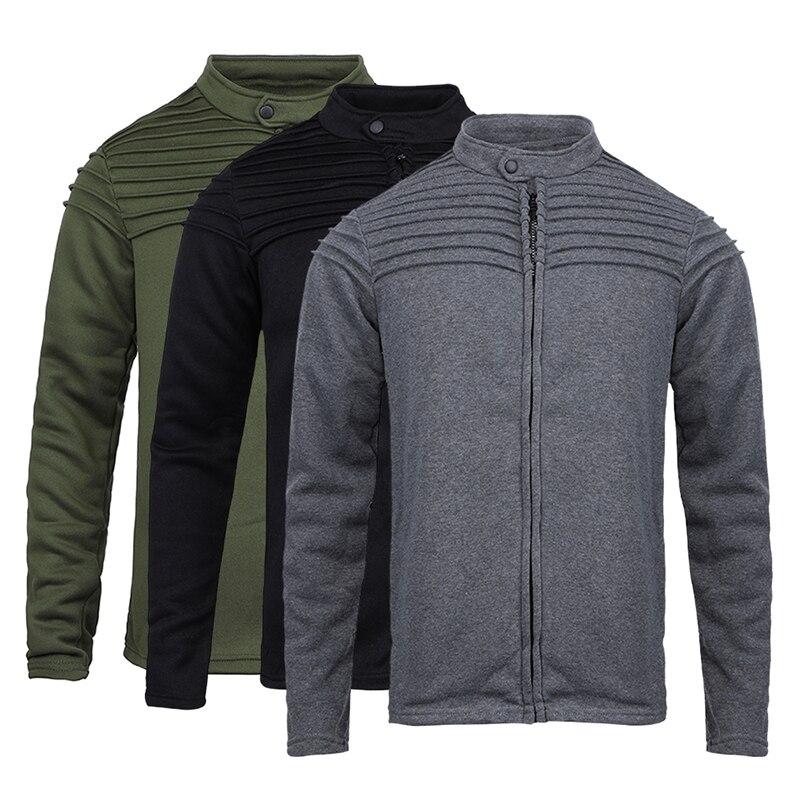 MJARTORIA New Men's Autumn Winter Zip up Slim Collar Shoulder Ruched Jacket Tops Long Sleeve Casual Coat Outerwear Fleece Jacket