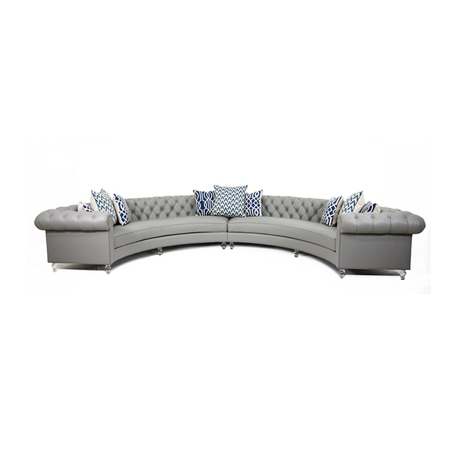 Chesterfield Arc-Shaped  Leather Conversational Sofa 2