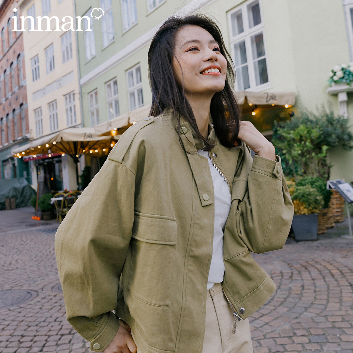 INMAN 2020 Spring New Arrival Literary Retro Overalls Style Stand Collar Loops Shoulder Large Pocket Short Women Coat
