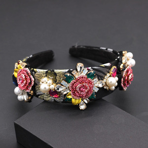 Image 2 - ファッション誇張された多彩なヘッドバンド新バロックヘビー作業高級ファッション真珠の花幾何学 headband797