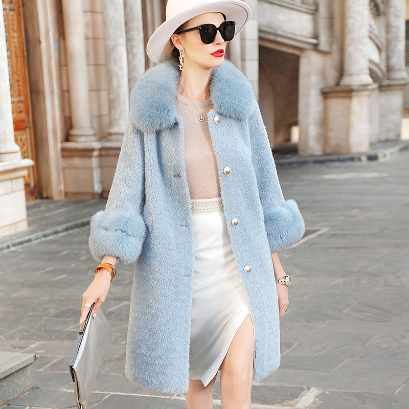 Real Coat Women Clothes 2020 Fox Collar Winter Jacket 100% Wool Fur Coats And Jackets Manteau Femme ED6009-49395 KJ3665