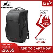 Kingsons 15 inç Laptop sırt çantaları USB şarj Anti hırsızlık sırt çantası erkekler seyahat sırt çantası su geçirmez okul çantaları erkek Mochila