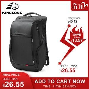 Image 1 - Kingsons 15 inç Laptop sırt çantaları USB şarj Anti hırsızlık sırt çantası erkekler seyahat sırt çantası su geçirmez okul çantaları erkek Mochila
