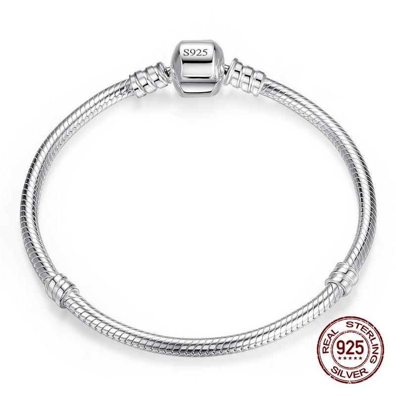 90% OFF Fine Jewelry 925 Sterling Silver Charm Bracelet Bangle Soft Smooth Snake Bone Bracelets For Women Men DIY Jewelry Gift