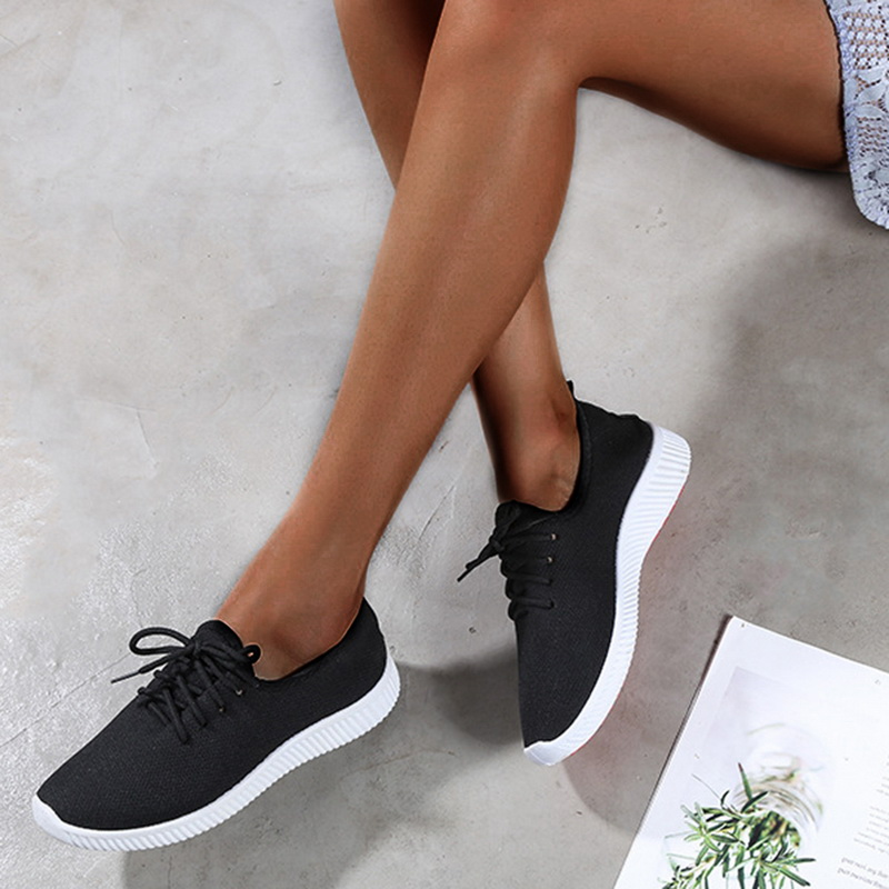 Women Tennis Shoes 2019 Fashion Sneakers Female Casual Solid Black Shoes Gym Fitness Trainer Walking Sport Shoes tenis feminino image
