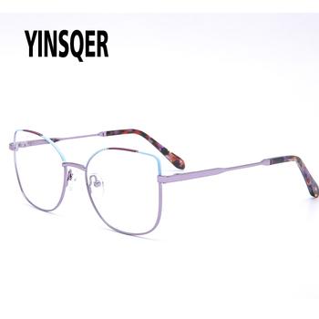 YINSQER okrągłe okulary Retro damskie okulary dla urody kot okulary dla krótkowzrocznych optyczne okulary na receptę komputerowe fałszywe okulary tanie i dobre opinie WOMEN Stop CN (pochodzenie) Patchwork 1895 FRAMES Okulary akcesoria