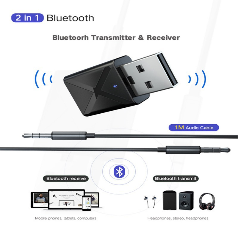 All In One Convenient Bluetooth 5.0 Audio Adapter Receiver Transmitter Wireless Dongle 3.5mm AUX Jack Audio BT Receiver5