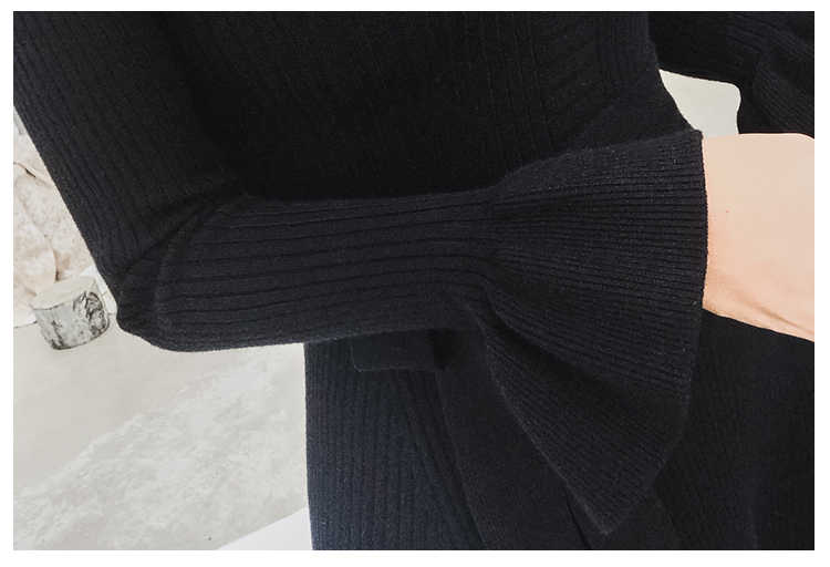 2019 ฤดูใบไม้ร่วงฤดูหนาวหนา maxi เสื้อกันหนาวผู้หญิง o-neck Flare แขนเสื้อยาวชุดหญิง slim เซ็กซี่ชุดถัก