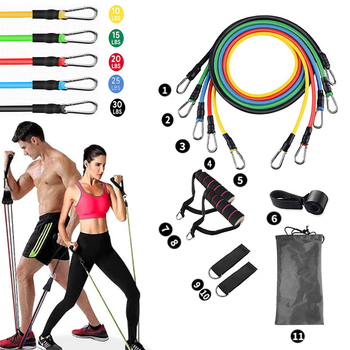 11 PCS Elastic Resistance Bands Set Portable Rubber Yoga Exercise Tube Band Pull Rope Fitness Training Workout Home Gym Expander 1