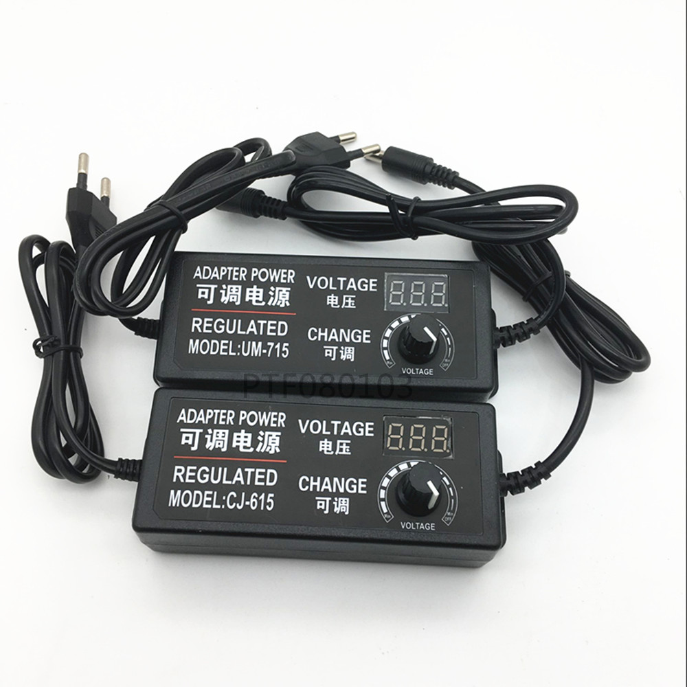 Adjustable AC To DC 3V-12V 3V-24V 9V-24V Universal Adapter With Display Screen Voltage Regulated 3V 12V 24V Power Supply Adatper