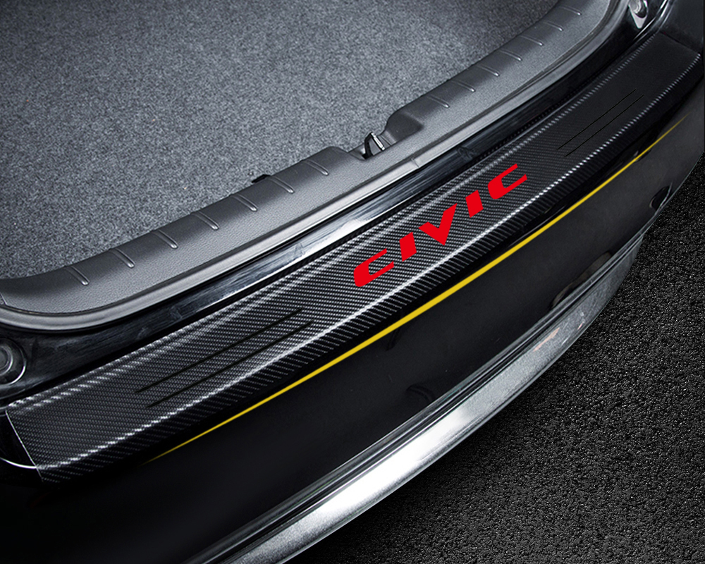 Car Styling Tail Trunk Carbon Fiber Emblem Decoration Bumper Protection Stickers For Honda Civic 2016 2017 2018 2019 Accessories